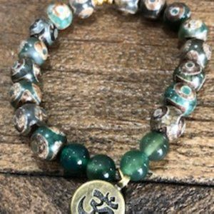 DZI Bead Bracelet with Om Charm